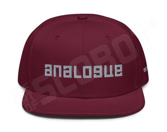 Analogue BURGUNDY MAROON Snapback Hat synth sound design vinyl records audio equipment guitar tube amp synthesizer band music faders knobs