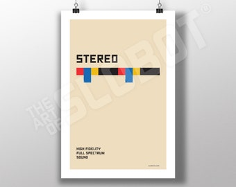 Stereo - Hi-FI Minimal Bauhaus Art Electronic Frequency Vintage Gear Guitars Records Vinyl Synthesizer Poster Print Sound Design Mike Slobot