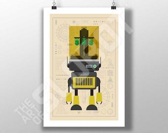 Mike Slobot - 3D Printer Robot Art #2 - Illustration Minimal Design Space Age Modern Pop Contemporary Poster RESIN maker printed wall art