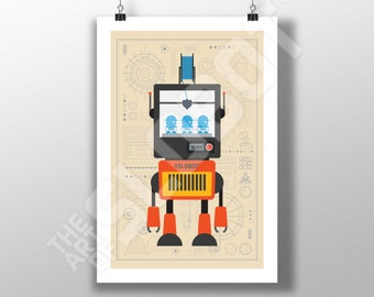 Mike Slobot - 3D Printer Robot Art #1 - Illustration Minimal Design Space Age Modern Pop Contemporary Poster PLA FDM maker printed wall art