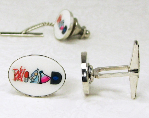 Sterling Cuff Links and Tie Tack Personalized with Inlaid Photo Tiles - A11-PT3a
