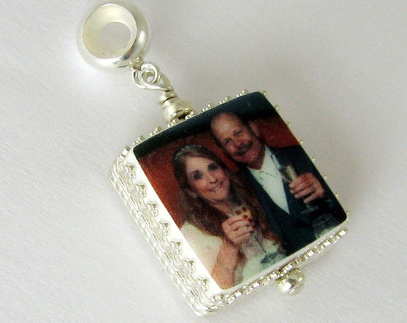 Photo Charm, Large Hole Charm for your name brand bracelet