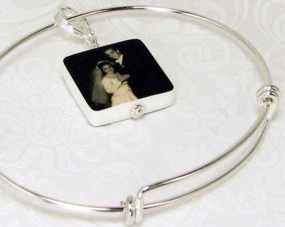 Sterling Silver Adjustable Bangle Bracelet with Custom Photo Charm - Small - P3fB4