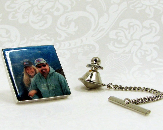 Tie Tack with chain, Custom Silver Photo Gift