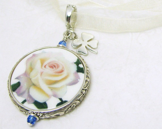 Your Something Blue Bouquet Memorial Charm with a silver Clover Charm - Medium - FBC16Fa
