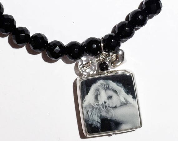 Sterling Framed Photo Charm on a Faceted Black Onyx Bracelet - Small