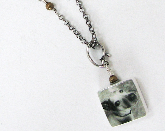 Custom Photo Pendant on Oxidized Silver Necklace
