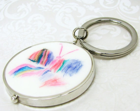 Round Photo Charm Key Ring with a Thick Sterling frame - XL - P20a