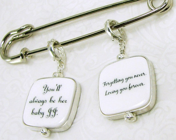 Two Sterling Framed Photo Charms on a Boutonniere / Corsage Pin - FBPP3RFlx2