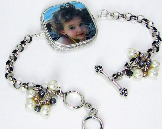 Custom Sterling Framed Photo Charm on a Rolo Chain Bracelet - FP2RFB5a