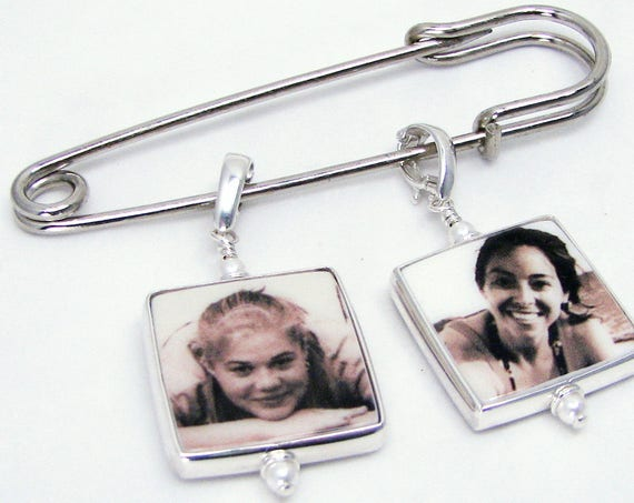 Photo Charms on a Groom's Boutonniere Pin - FBPP3Hx2