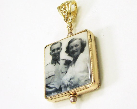 14K Gold Filled Framed Photo Pendant - Medium