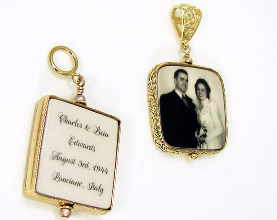 2 - 14K Gold Filled Framed Photo Pendants - Medium