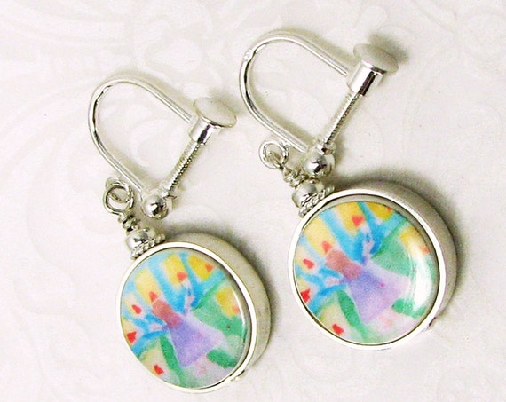 Photo Charm Earrings - Silver Screw-On