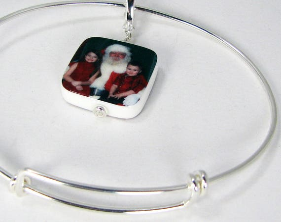 Sterling Silver Adjustable Bangle Bracelet with Custom Photo Charm - Small