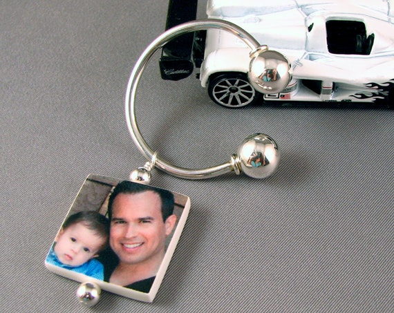 Sterling Silver Horseshoe Key Ring with two-sided Photo Charm