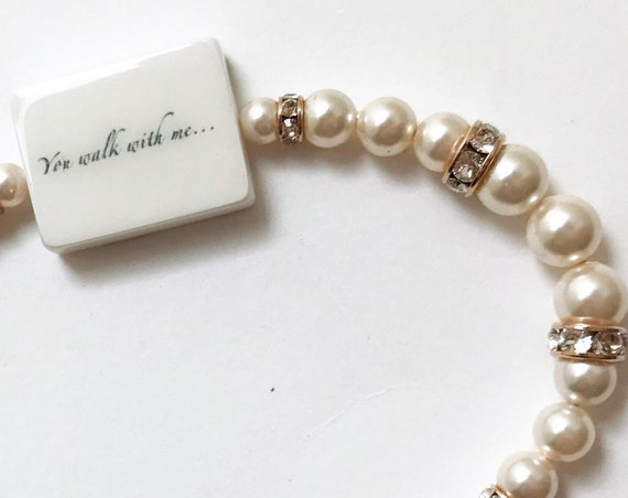 Pearl Bride's Bracelet with Photo Charm - Rose Gold-Filled Edition