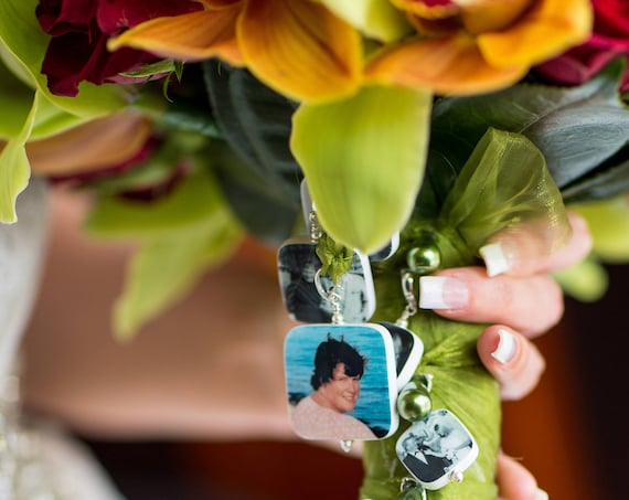 A Memory Photo Charm for your bouquet on your wedding day.