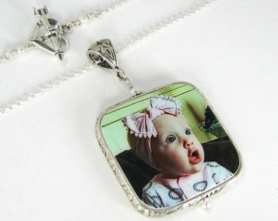 Photo Pendant Necklace with a Sterling Floral Design Frame