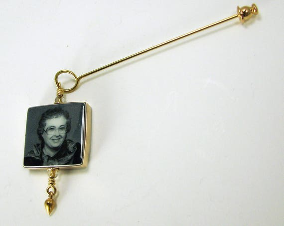 Gold-filled Photo Memorial Boutonniere/Corsage Charm, Small