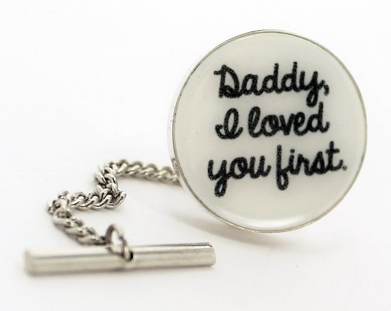 Tie Tack with chain, Personalized Silver Framed Photo Tile