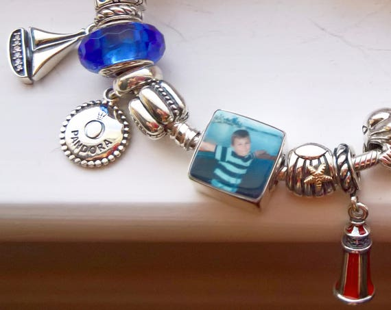 Shiny Flat Framed, Large Hole, Photo Charm for a Pandora Style Bracelet - Mini (.5)