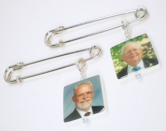 "Two Boutonniere Pins with Medium (1"") Photo Charms"