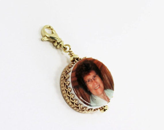 14K Gold Classic Framed Photo Charm - XSM - FC6rCF