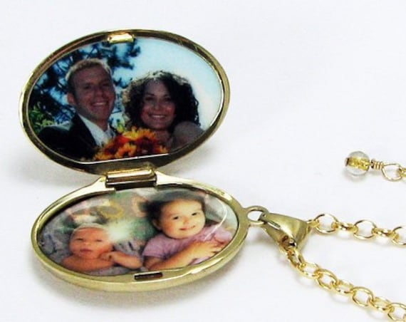 Gold-filled Locket with Cross, Oval Photo Locket and Necklace