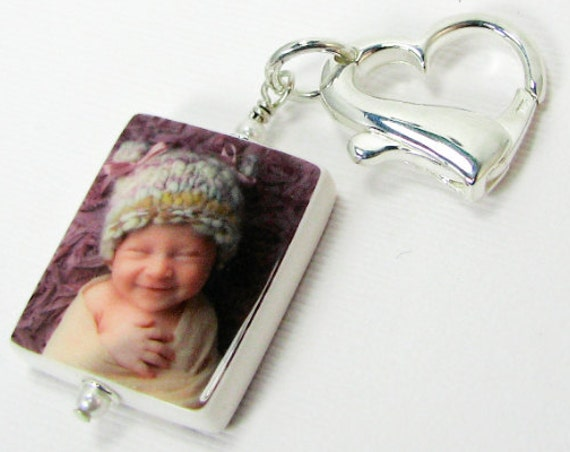 Custom Photo Charm on a Sterling Heart Clasp