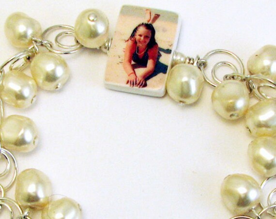 Photo Charm and Baroque Pearl Bracelet - P3B6a