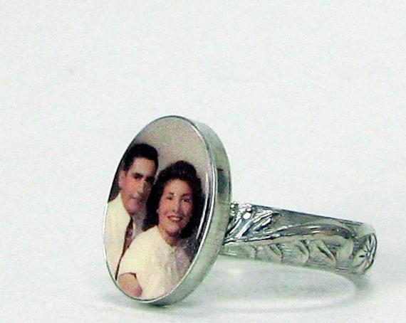 Oval Photo Tile Ring - Custom Sterling Silver Bezel - C9Ri