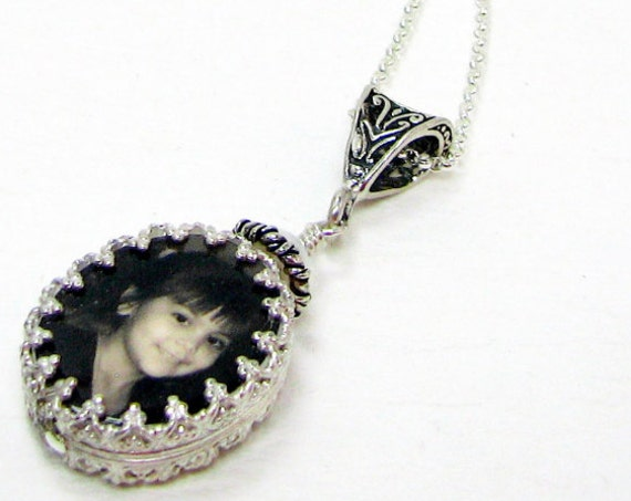Custom Photo Pendant - wrapped in a silver bezel