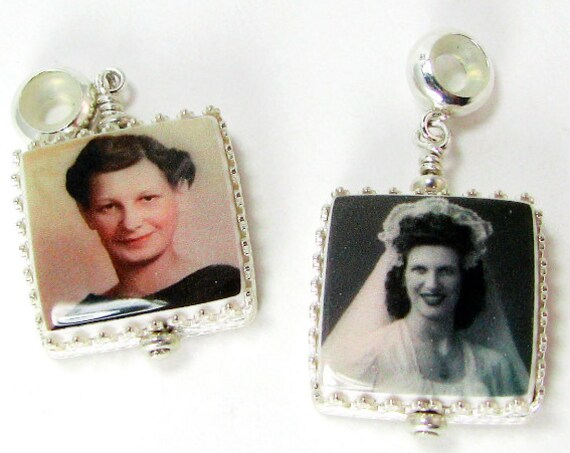 "2 Classic Framed Photo Charms on Silicone Bails - XSM (.65"")"