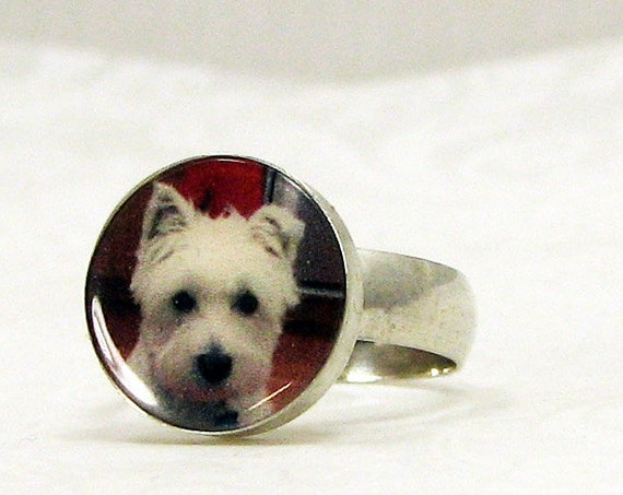 Custom Sterling Silver Photo Tile Ring - 12mm Round - C6Ri