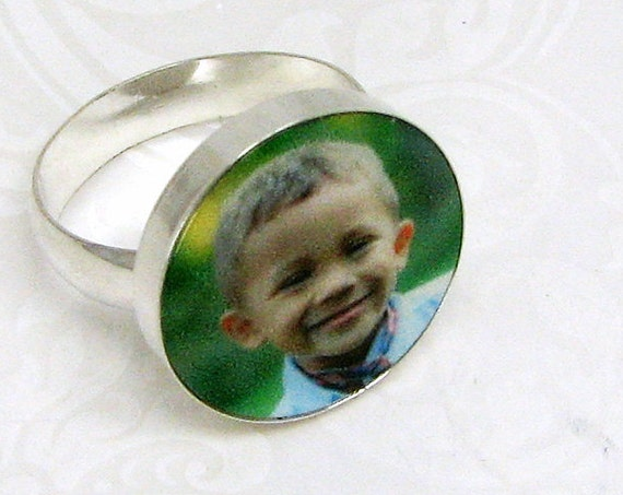 Custom Sterling Silver Photo Tile Ring