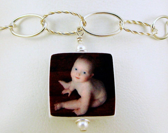 Photo Charm Bracelet with Sterling Links and a Small, two-sided Charm - P3B6