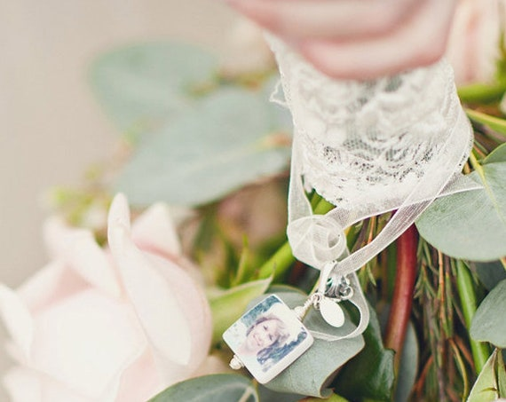 BC3 - Bridal Bouquet Photo Charm - Small Personalized Memorial Photo Pendant with fancy bail
