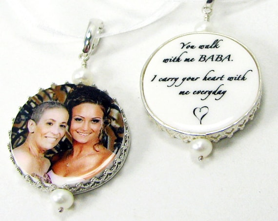 Bridal Bouquet Photo Memorial charms framed in sterling - Bouquet Jewelry