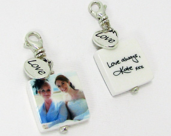 Custom Photo Pendants on Swivel Lobster Claw Clasps with Message Charm