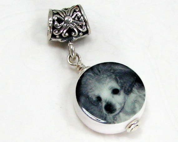 A Photo Charm on a Silver Filigree Large Hole Bail - Mini - C8f