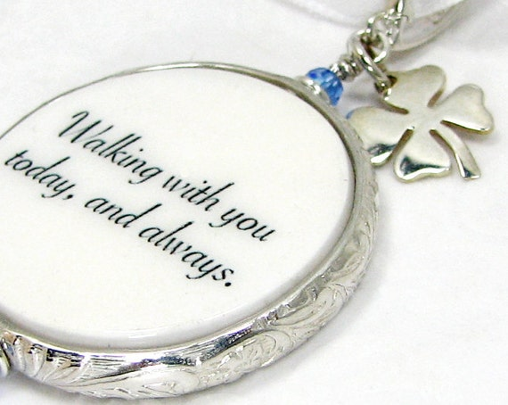 A 'Something Blue' Photo Memory Charm for the Bride with a silver Clover Charm