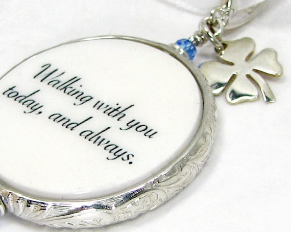 A Something Blue for the Bride with a Clover Charm- Medium Bouquet Charm - FBC16Fa