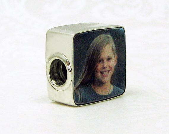"Shiny Flat Framed, Large Hole, Photo Charm for a Pandora Style Bracelet - Mini (.5"")"