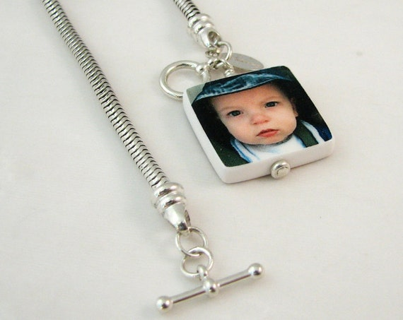 Snake Chain Bracelet with a dangling Photo Charm - P3B6