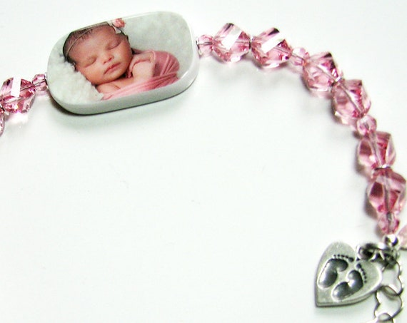 Custom Crystal Bracelet, Lg. Photo Charm - P1RB13a