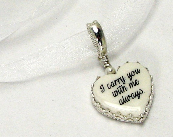Sterling Framed Heart Shaped Bridal Bouquet Photo Memorial - XSM