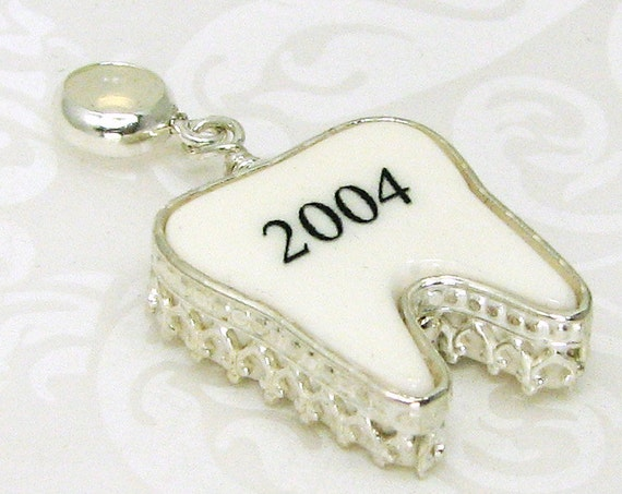 Sterling silver framed, tooth shaped photo tile pendant. OOAK custom charm - FXC - XSM