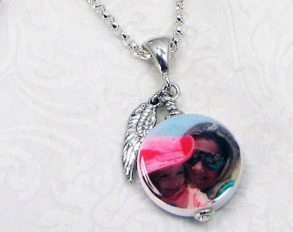 Custom Photo Pendant and Sterling Angel Wing Charm - C6Na