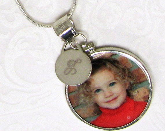 Interchangeable Sterling Framed Photo Pendant with Small Engraved Tag - CPFa